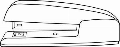 Stapler Clipart Office Line Clip Outline Simple