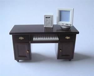 Computer Arbeitsplatz Möbel : schreibtisch mit computer pc puppenhaus m bel wohnzimmer miniatur 1 12 puppenhaus m bel ~ Indierocktalk.com Haus und Dekorationen