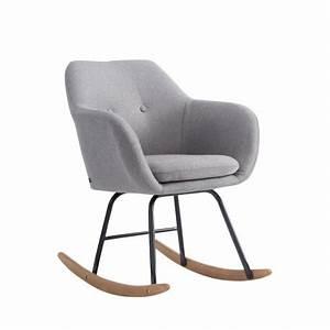 Chaise Scandinave A Bascule : fauteuil bascule en tissu rembourr gris style scandinave fab10005 d coshop26 ~ Teatrodelosmanantiales.com Idées de Décoration