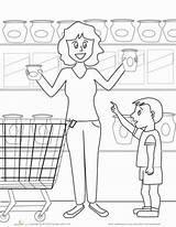 Coloring Grocery Worksheet Kindergarten Worksheets Preschool Colors Education Places Grade Math Articol sketch template