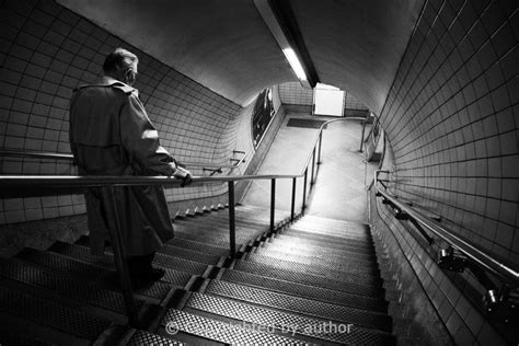 charing cross exit black  white street photography