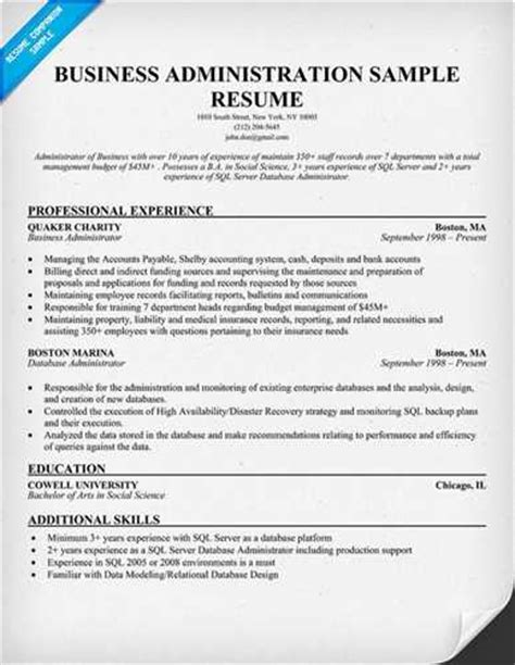 resume for school administrator sample business administration resume