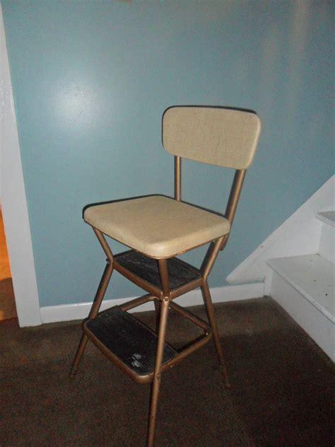 vintage cosco beige kitchen step stool chair  flip  seat