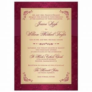 wedding invitation burgundy gold damask printed With wedding invitations with burgundy ribbon