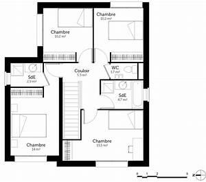 plan maison 110 m2 avec 4 chambres ooreka With plan de maison 4 chambres avec etage