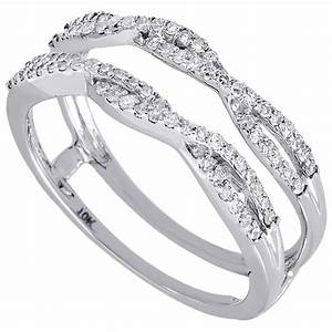 10k white gold diamond solitaire engagement ring enhancer With wedding ring wraps white gold