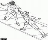 Coloring Wettbewerb Fechten Malvorlagen Walki Szermierka Konkurencji Combattimento Concorrenza Scherma Combate Competicion Esgrima Colorear Lucha Kampfsportarten Sporty Kolorowanki Fencing Library sketch template
