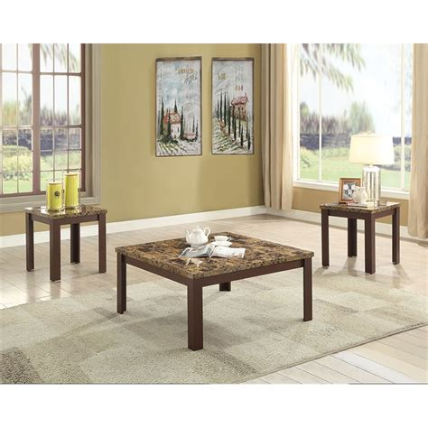 Fae faux rattan coffee table. ACME Finely 3 Piece Faux Marble Top Coffee Table Set in Light Brown - 84565