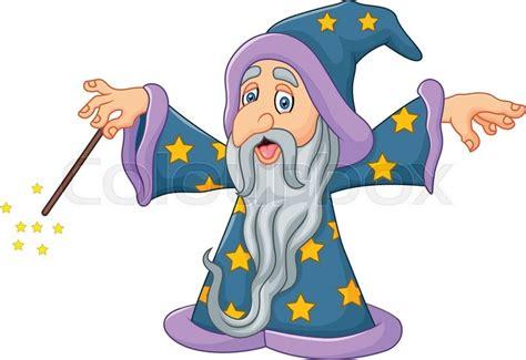 vector illustration of cartoon wizard is waving his magic