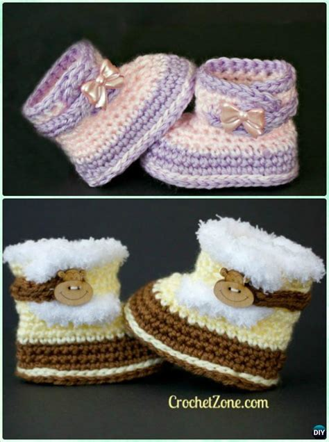 crochet ankle high baby booties  patterns tutorials