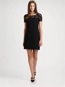dkny lace shift dress in black lyst