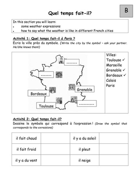 pairwork worksheets on weather in french by tgroskop