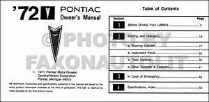 1972 Pontiac Gto And Lemans Owners Manual Owner Guide Book