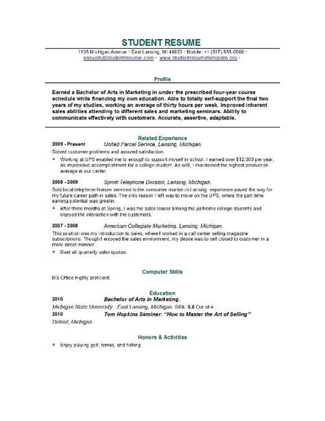 sample resume for college student resume templates student resume template easyjob