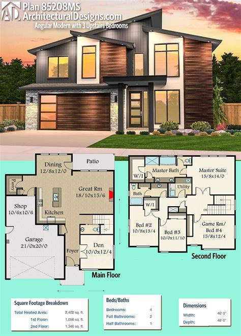 Plan 85208MS: Angular Modern House Plan with 3 Upstairs