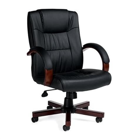 executive office chair with wood arms and base otg11780b