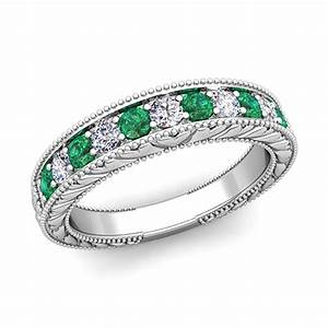 Vintage diamond and emerald wedding ring band in platinum for Emerald wedding band rings