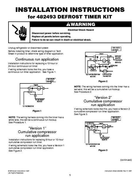 482493 Defrost Timer Wiring Diagram by Whirlpool 482493 Defrost Timer Kit Installation