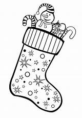 Stocking Coloring Gifts Stockings sketch template