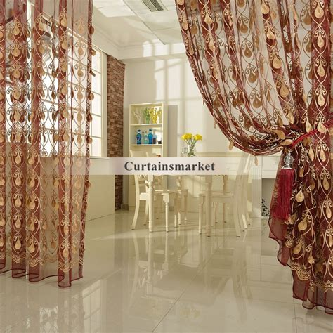 gold patterned curtains embroidery yarn patterned window sheer curtains