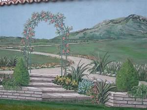 trompe l39oeil jardin wikiliafr With jardin autour d une piscine 15 fresque murale decor peint et trompe loeil peinture