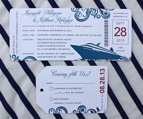 red blue swirl yacht cruise boarding pass wedding