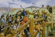 Vikings fight Saxons at the battle of Stamford Bridge ...