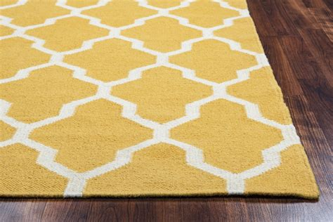 gold and white rug swing quatrefoil trellis wool area rug in yellow gold