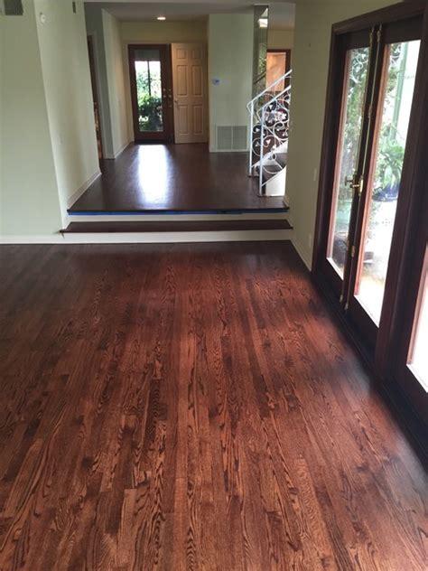 oak strip flooring  entry  steps  rosewood stain