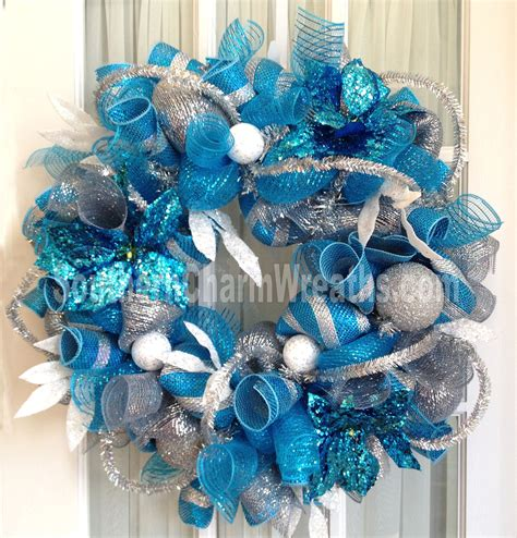 deco mesh blue christmas wreath for door by southerncharmwreaths
