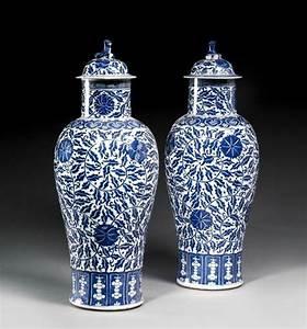 Grand Vase Blanc 1 Metre : paire de grand vases couverts en porcelaine bleu blanc chine dynastie qing xix me si cle ~ Teatrodelosmanantiales.com Idées de Décoration