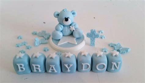 handmade edible teddy cake topper decoration christening