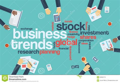 Business Trends Flat Design Infographics With Word Stock