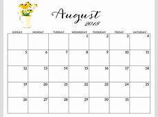 Calendar August 2018 Printable Calendar Free Printable