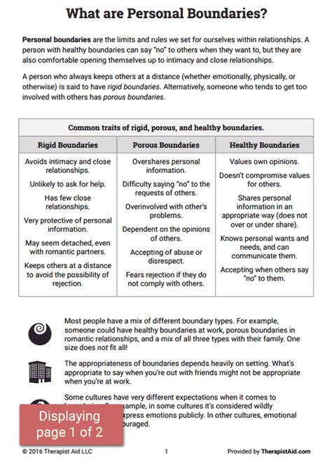 boundaries info sheet worksheet work stuff