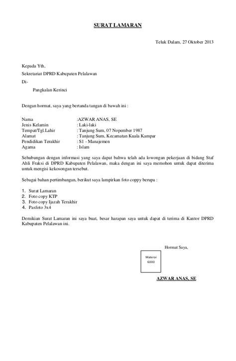Contoh Surat Lamaran Kerja Ahli Fraksi DPRD - ben jobs
