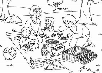 Picnic Coloring Clipart Summer Caillou Pages Beach