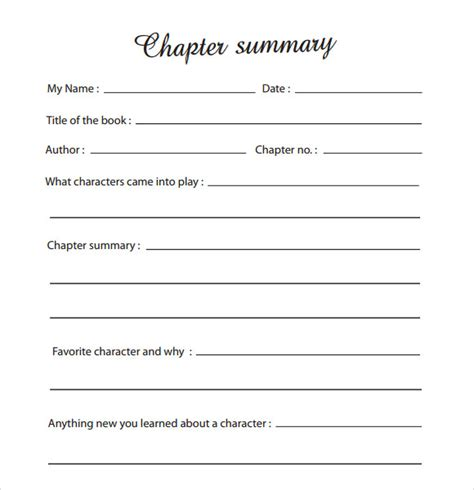 sample chapter summary template   documents