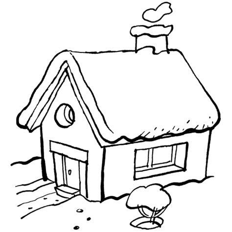 Kostenlose Malvorlage Winter Haus Zum Ausmalen