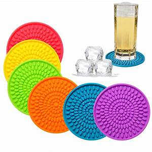 Colorful, Coasters, For, Drinks, Absorbent, Rubber, Drink, Coaster, Set, Silicone, Rainbow, 719034997407