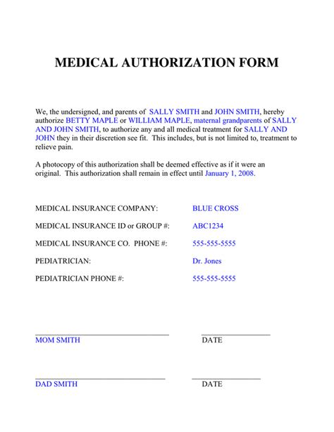 Media Authorization Form by Medical Authorization Form In Word And Pdf Formats