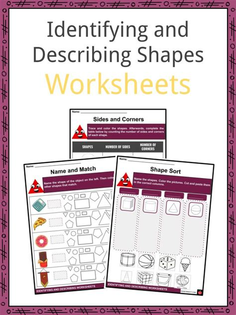 identifying  describing shapes facts worksheets  kids