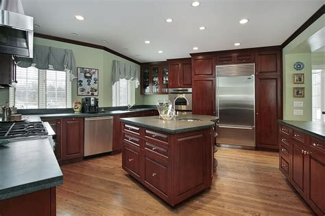 43 kitchens with extensive dark wood throughout