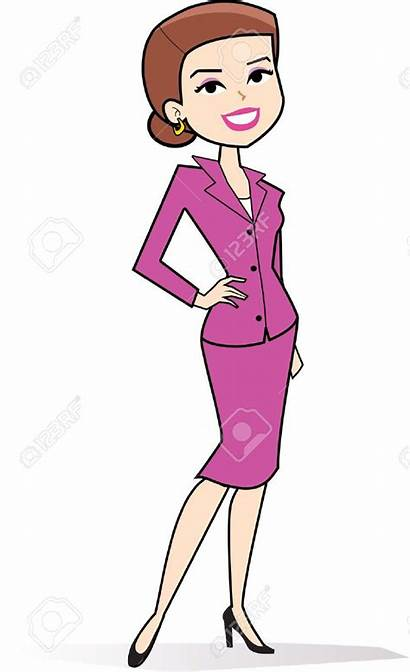 Cartoon Woman Clipart Drawing Clip Lady Standing