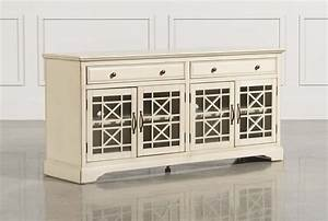 Annabelle cream 70 inch tv console living spaces for 100 inch media console