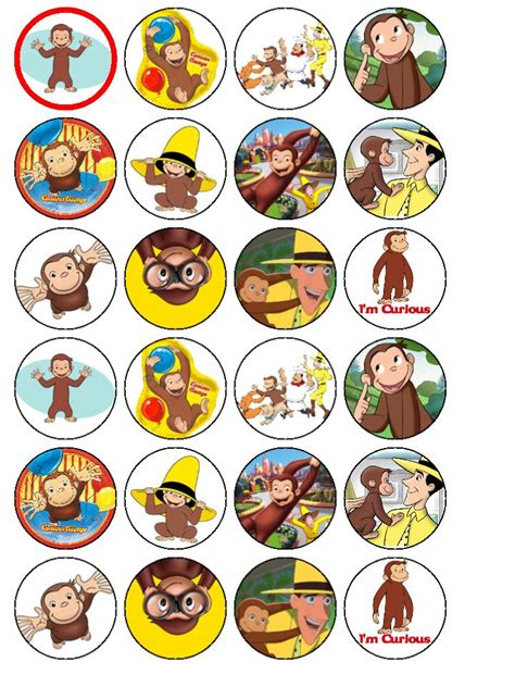curious george edible wafer cupcake top toppers