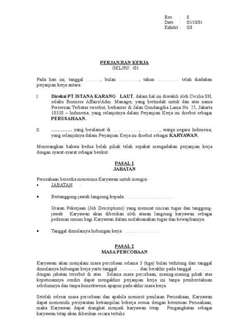 Contoh Surat Perjanjian Driver