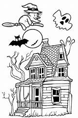Haunted Halloween Pages Spooky Coloring Printable Craft Pdf Adults Printcolorcraft sketch template