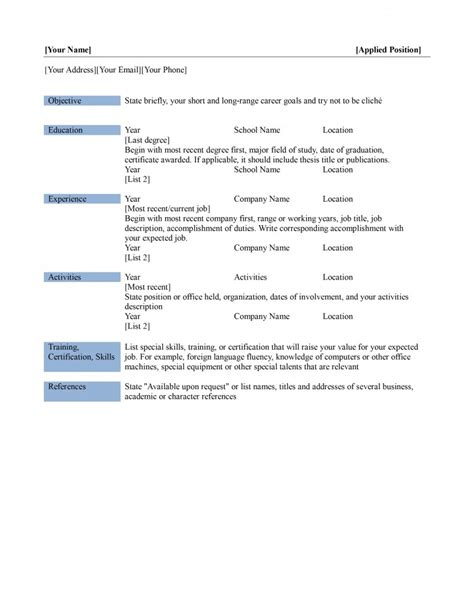 Resume Filler Content by Resume 87 Marvellous Sle Format Outstanding Free 89
