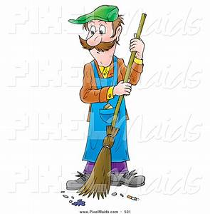 Clipart of a Man in Overalls Sweeping a Floor by Alex ...